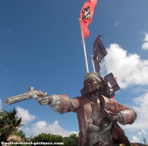 Blackbeards Castle pirate statute Charlotte Amalie St. Thomas